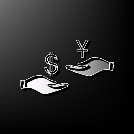 Currency exchange from hand to hand. Dollar and Yuan. Vector. Gray 3d printed icon on black background.
