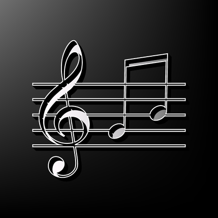 conduct: Music violin clef sign. G-clef and notes G, H. Vector. Gray 3d printed icon on black background.