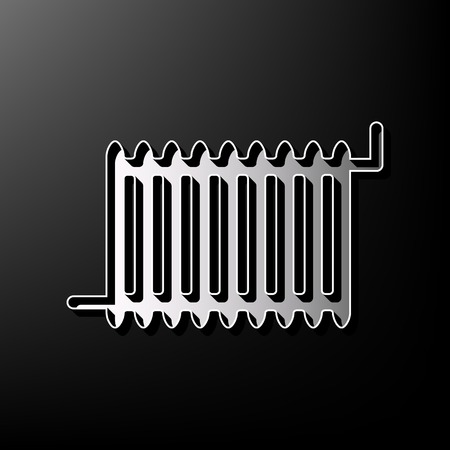 Radiator sign. Vector. Gray 3d printed icon on black background. Illustration