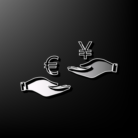 Currency exchange from hand to hand. Euro and Yen. Vector. Gray 3d printed icon on black background.