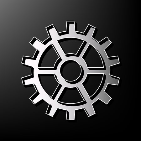Car Transmission: Gear sign. Vector. Gray 3d printed icon on black background.