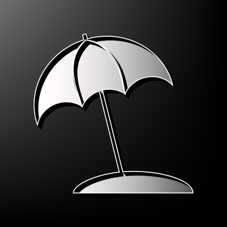sunshade: Umbrella and sun lounger sign. Vector. Gray 3d printed icon on black background.
