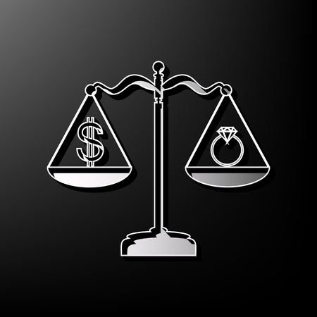 Ring jewelery and dollar symbol on scales. Vector. Gray 3d printed icon on black background. Illustration