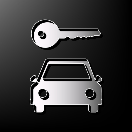 Car key simplistic sign. Vector. Gray 3d printed icon on black background.