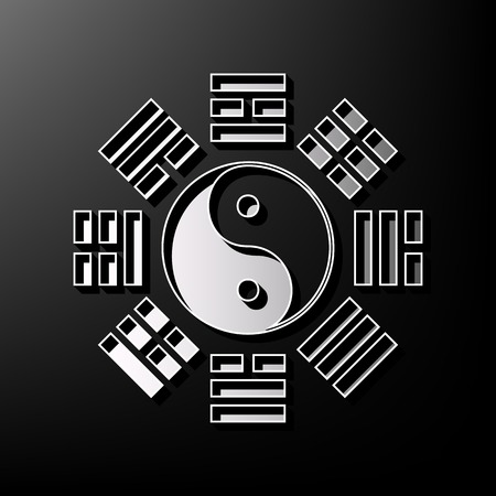 taiji: Yin and yang sign with bagua arrangement. Vector. Gray 3d printed icon on black background. Illustration