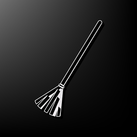 Sweeping broom sign. Vector. Gray 3d printed icon on black background.