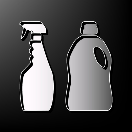 Household chemical bottles sign. Vector. Gray 3d printed icon on black background. Illustration