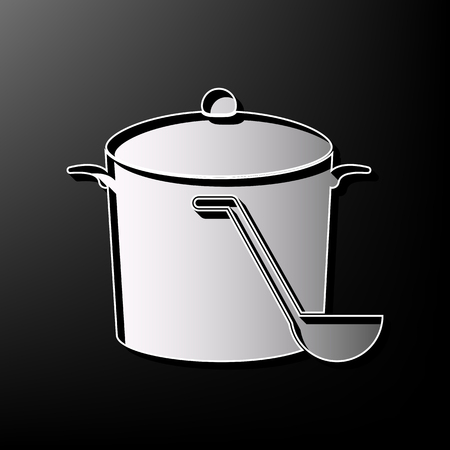 Pan with steam sign. Vector. Gray 3d printed icon on black background.