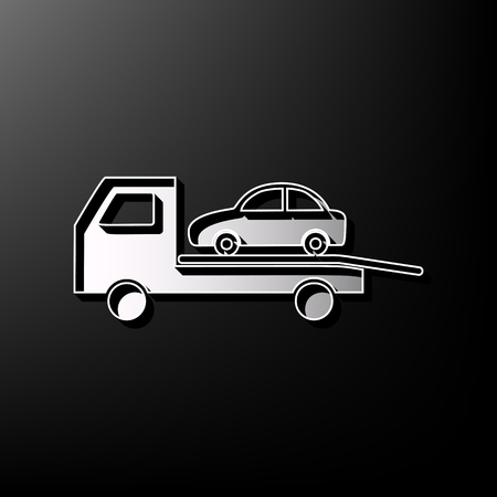 printed machine: Tow car evacuation sign. Vector. Gray 3d printed icon on black background. Illustration