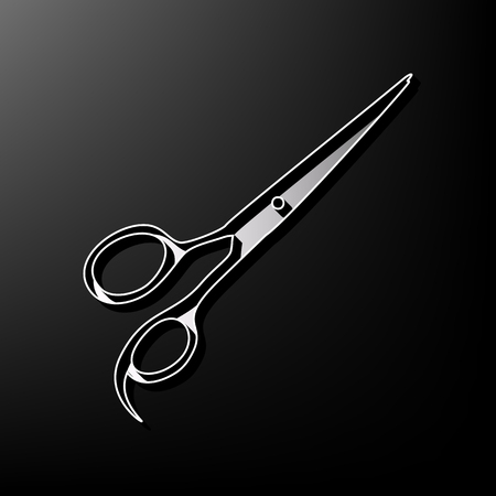 Hair cutting scissors sign. Vector. Gray 3d printed icon on black background.