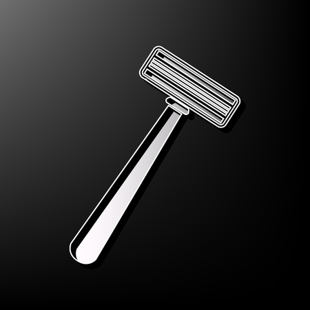 Safety razor sign. Vector. Gray 3d printed icon on black background.