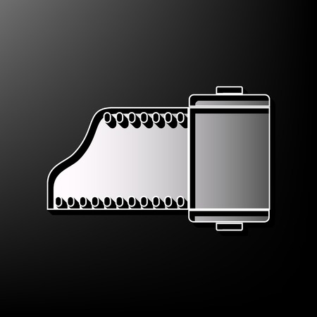 photo album: Old photo camera casset sign. Vector. Gray 3d printed icon on black background.