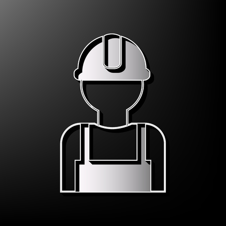 Worker sign. Vector. Gray 3d printed icon on black background. Illustration