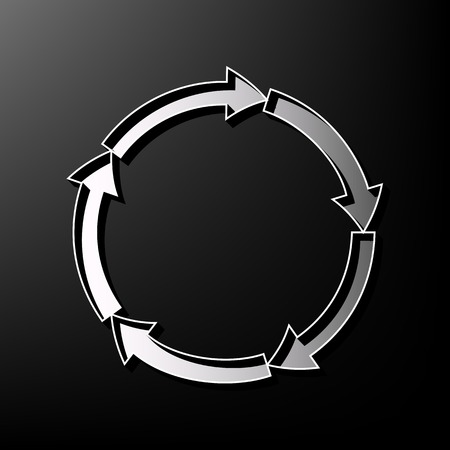 business graphics: Circular arrows sign. Vector. Gray 3d printed icon on black background.