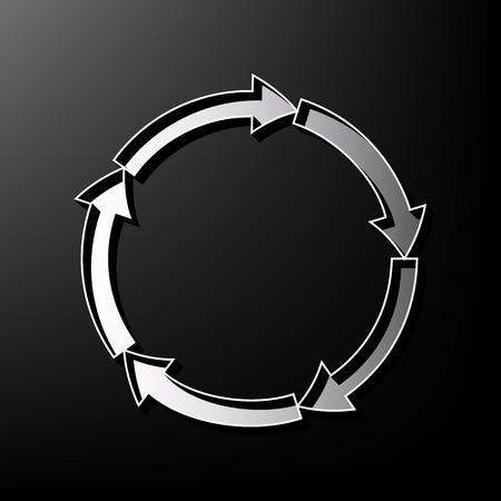 Circular arrows sign. Vector. Gray 3d printed icon on black background.