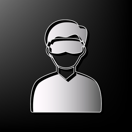 Man with sleeping mask sign. Vector. Gray 3d printed icon on black background. Illustration