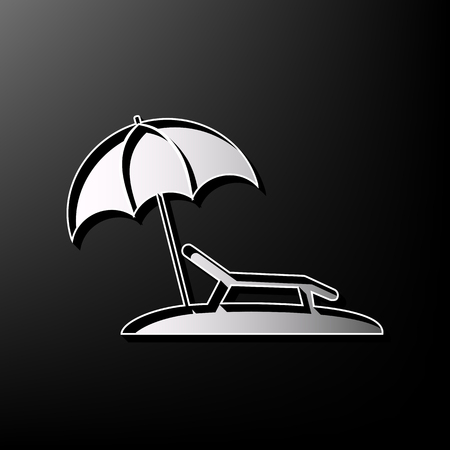 brolly: Tropical resort beach. Sunbed Chair sign. Vector. Gray 3d printed icon on black background. Illustration