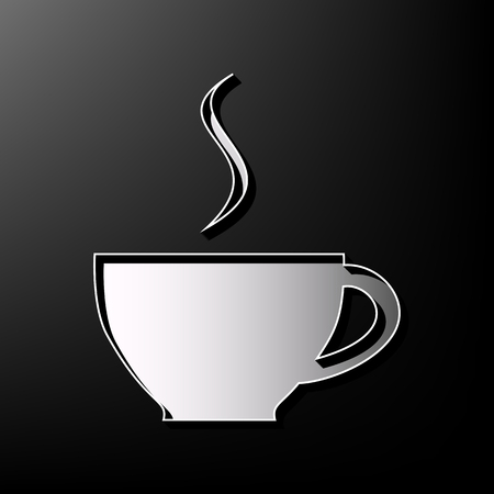 Cup sign with one small stream of smoke. Vector. Gray 3d printed icon on black background.