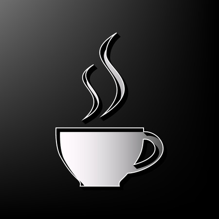 long bean: Cup sign with two small streams of smoke. Vector. Gray 3d printed icon on black background. Illustration