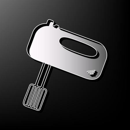 Kitchen mixer sign. Vector. Gray 3d printed icon on black background.