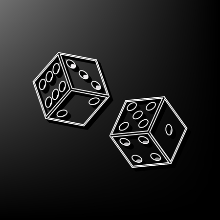 ardour: Dices sign. Vector. Gray 3d printed icon on black background.