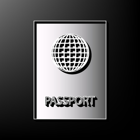 emigration: Passport sign illustration. Vector. Gray 3d printed icon on black background.