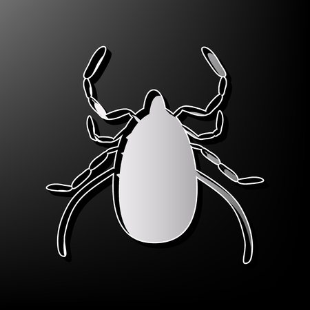 lyme disease: Dust mite sign illustration. Vector. Gray 3d printed icon on black background.