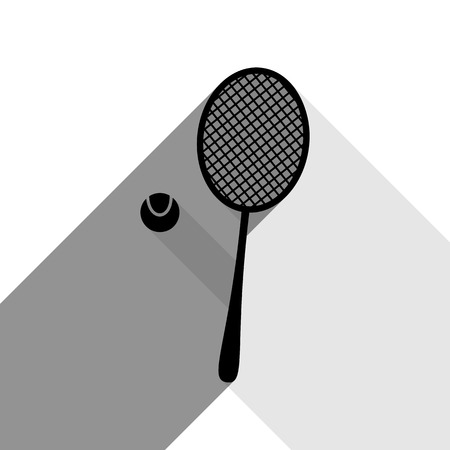 Tennis racquet with ball sign. Vector. Black icon with two flat gray shadows on white background.
