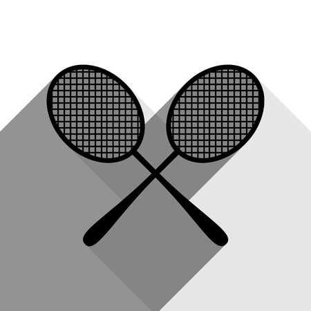 Two tennis racket sign. Vector. Black icon with two flat gray shadows on white background.