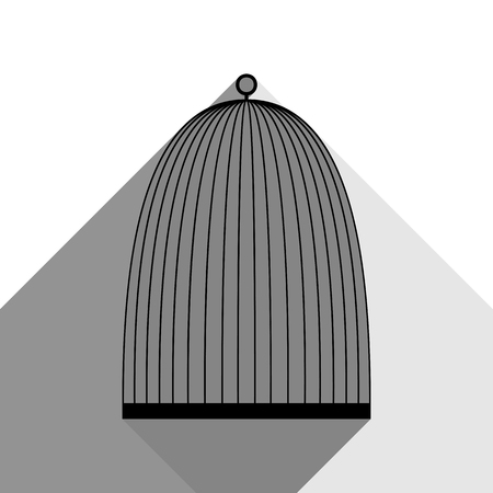 Bird cage sign. Vector. Black icon with two flat gray shadows on white background. Illustration