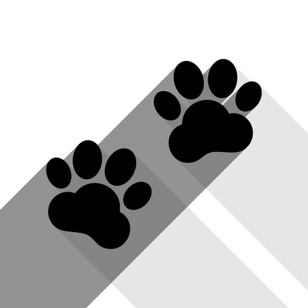 gray cat: Animal Tracks sign. Vector. Black icon with two flat gray shadows on white background.