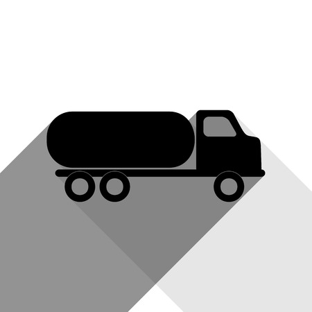 toxic substance: Car transports sign. Vector. Black icon with two flat gray shadows on white background. Illustration