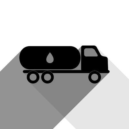 toxic substance: Car transports Oil sign. Vector. Black icon with two flat gray shadows on white background. Illustration
