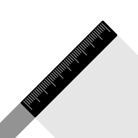 Centimeter ruler sign. Vector. Black icon with two flat gray shadows on white background. Illustration