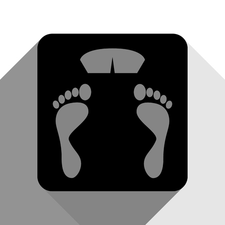 bathroom scale: Bathroom scale sign. Vector. Black icon with two flat gray shadows on white background.