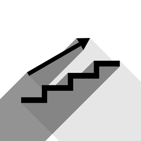 Stair with arrow. Vector. Black icon with two flat gray shadows on white background. Illustration