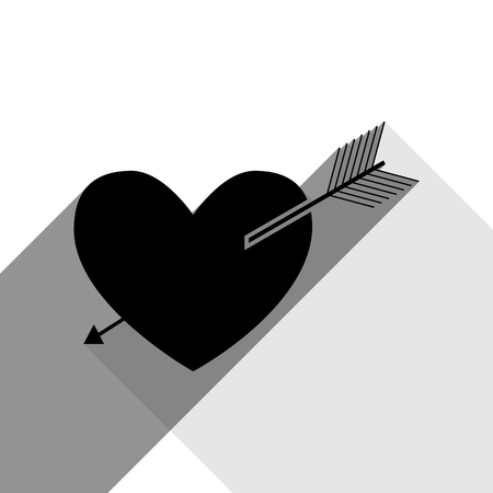 cor: Arrow heart sign. Vector. Black icon with two flat gray shadows on white background.