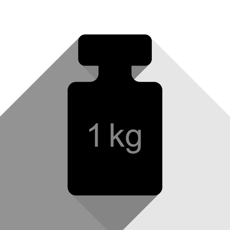 Weight simple sign. Vector. Black icon with two flat gray shadows on white background.