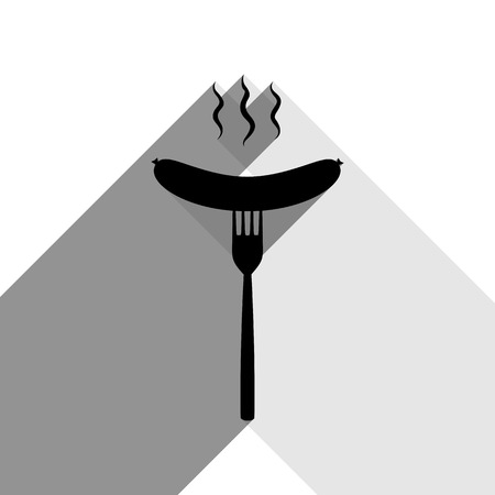 hot dog: Sausage on fork sign. Vector. Black icon with two flat gray shadows on white background. Illustration