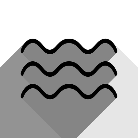 Black silhouette illustration of wave sign with two flat gray shadows.