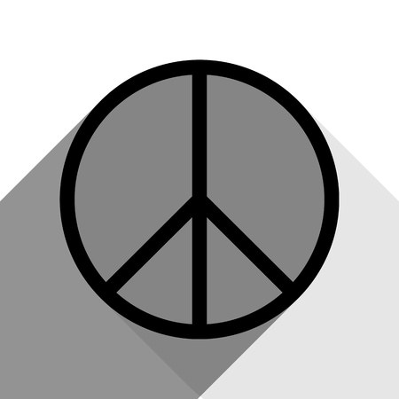 pacificist: Black silhouette illustration of peace sign with two flat gray shadows.