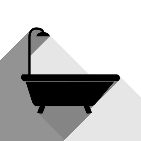 Bathtub sign. Vector. Black icon with two flat gray shadows on white background.