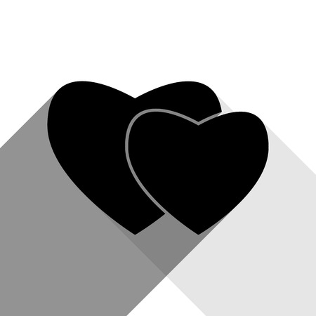 cor: Two hearts sign. Vector. Black icon with two flat gray shadows on white background.