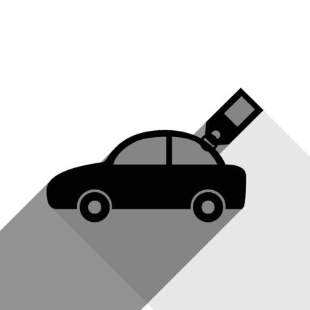 racing sign: Car sign with tag. Vector. Black icon with two flat gray shadows on white background. Illustration