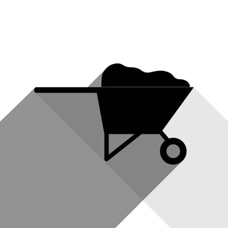 heavy metal: Garden wheelbarrow sign illustration. Vector. Black icon with two flat gray shadows on white background.