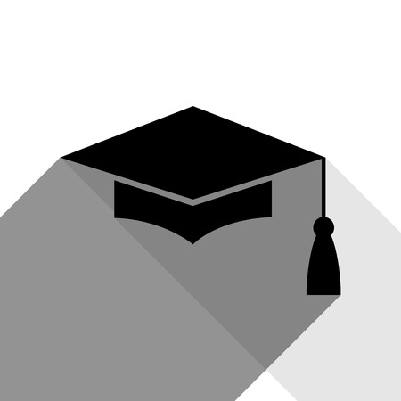 Mortar Board or Graduation Cap, Education symbol. Vector. Black icon with two flat gray shadows on white background.