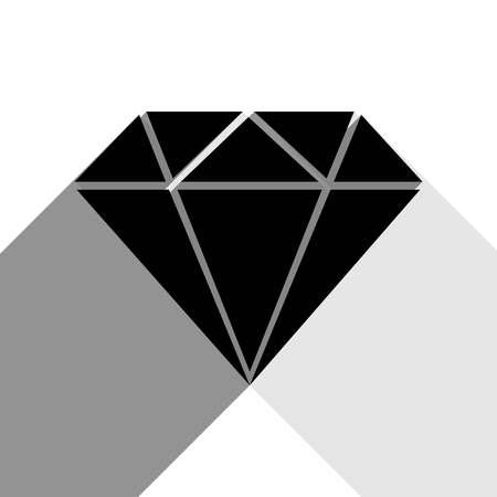 Diamond sign illustration. Vector. Black icon with two flat gray shadows on white background.