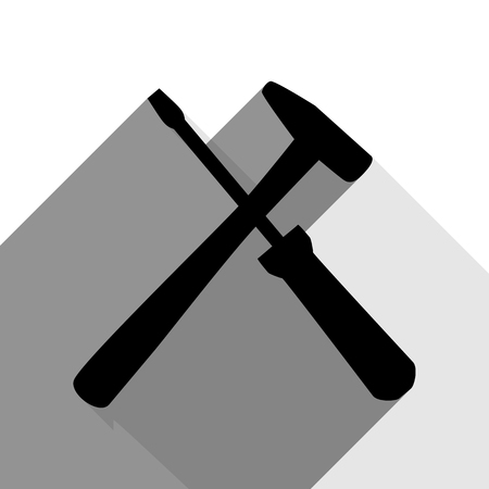 Tools sign illustration. Vector. Black icon with two flat gray shadows on white background.