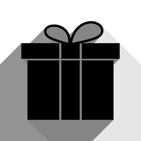 festive occasions: Gift box sign. Vector. Black icon with two flat gray shadows on white background.