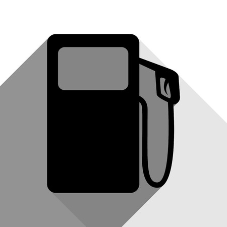 Gas pump sign. Vector. Black icon with two flat gray shadows on white background. Illustration